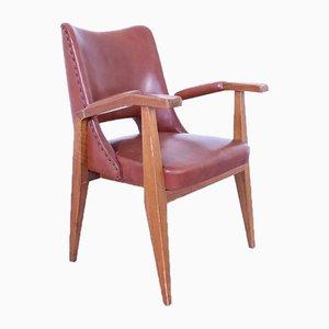 Vintage Armlehnstuhl aus Leder & Holz von Gottardi Mario