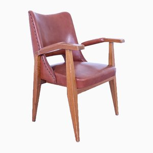 Vintage Leather & Wooden Armchair by Gottardi Mario