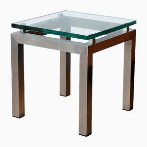 Mesas auxiliares de vidrio y aluminio cepillado, años 70. Juego de 2