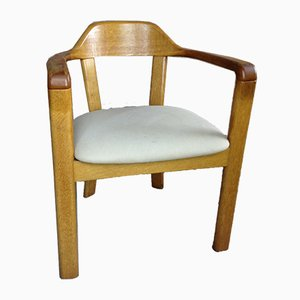 Vintage Oak & Fabric Dining Chairs, Set of 4