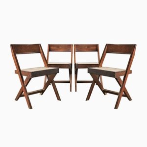 Mid-Century Library Chairs by Pierre Jeanneret, 1950s, Set of 4