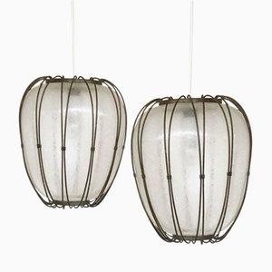 Lámparas Lantern vintage de vidrio y metal. Juego de 2
