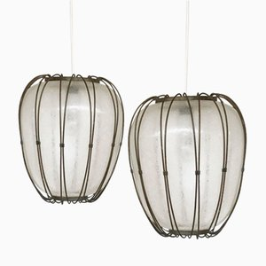 Vintage Glass & Metal Lantern Lamps, Set of 2