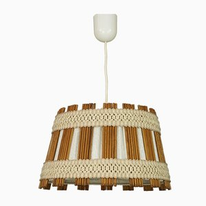 Mid-Century Wood & Fabric Ceiling Lamp
