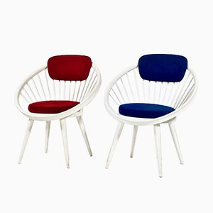Swedish Model Circle Lounge Chairs by Yngve Ekström, 1960s, Set of 2