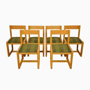 Mid-Century Wooden Dining Chairs, Set of 6