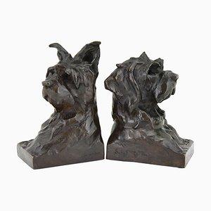 Sujetalibros Art Déco de bronce del terrier de Maximilien Louis Fiot para Susse Freres, años 20. Juego de 2