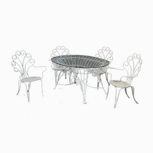 Garden Table and Chairs Set, 1960s, Set of 5