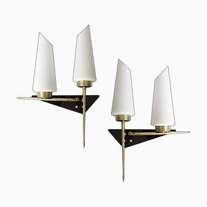 Mid-Century French Black Perspex, Brass, and Opaline Glass Architectonic Sconces from Lunel, 1960s, Set of 2
