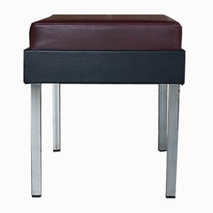 Mid-Century Chrome & Leatherette Stool or Ottoman