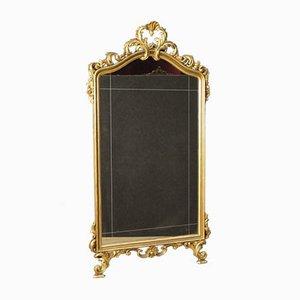 Espejo italiano de madera dorada, años 60