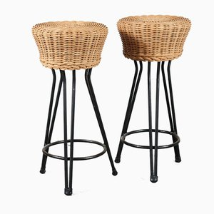 Dutch Wicker Tripod Stool, 1950s