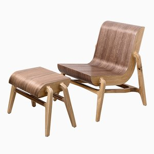 Overlap Chair & Footstool by Nadav Caspi