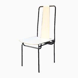 Italienische Esszimmerstühle aus Metall & Leder von Adalberto del Lago für Misura Emme, 1980er, 4er Set