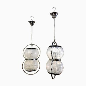 Italian Murano Glass Pendant Lamps, 1960s, Set of 2