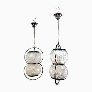 Lámparas colgantes italianas de cristal de Murano, años 60. Juego de 2
