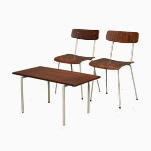 Bedroom Teak Chairs & Table from Auping, 1950s, Set of 3