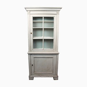 Gustavian Painted Glass Cabinet, 1860s