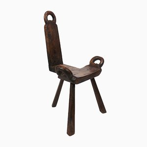 Antique Norwegian Polished Wood Side Chair, 1840s