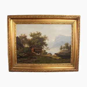 Peinture à l'Huile de Beau Paysage Suisse avec Cadre Doré, 1880s