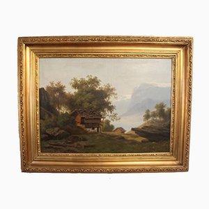 Pintura al óleo de paisaje suizo con marco dorado, década de 1880