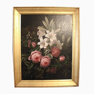 Oil Painting of Peonies and Lilies with a Gilded Frame, 1880s