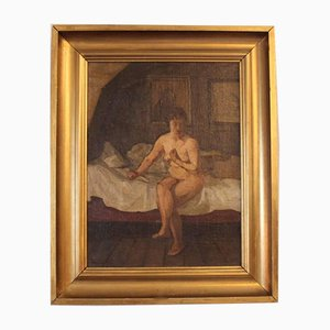 Oil Painting of a Naked Lady Sitting on a Bed by G. L, 1924