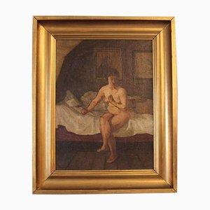 Pintura al óleo de una dama desnuda sentada en una cama de G. L., 1924