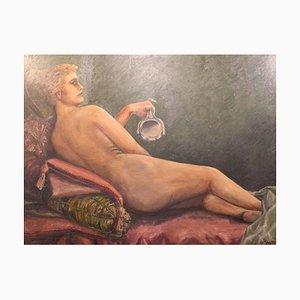 Großes Gemälde mit dem Motiv einer Nackten Frau von O. Rosmund, 1910