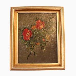 Pintura al óleo de motivo floral pequeña, década de 1890