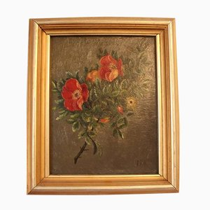 Small Oil Painting with Beautiful Floral Motif, 1890s