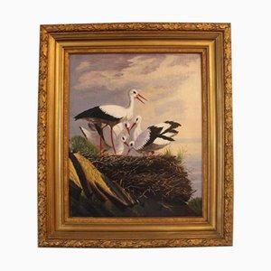 Dipinto ad olio di cicogne, fine XIX secolo