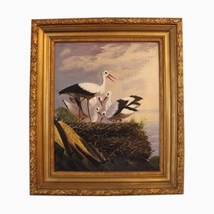 Oil Painting of Storks, 1880s
