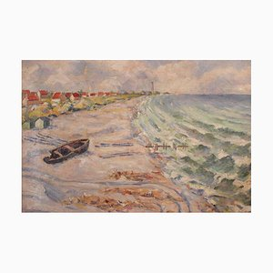 Danish Beach Painting by Clement, 1930s