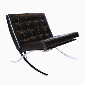 Italian Leather Barcelona Lounge Chair from Techno, 2000s