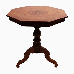 Italian Mahogany & Fruitwood Side Table, 1880s