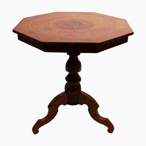 Italian Mahogany & Fruitwood Side Table, 1880s