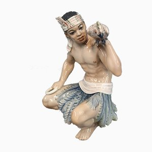 Oriental Porcelain Sundanese Man Figurine by Jens Peter Dahl-Jensen, 1920s