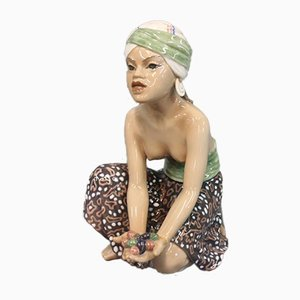 Oriental Porcelain Fruit Woman Figurine by Jens Peter Dahl-Jensen, 1920s