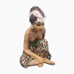 Oriental Porcelain Bali Woman Figurine by Jens Peter Dahl-Jensen, 1920s