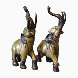 Brass Elephants, 1930s, Set of 2