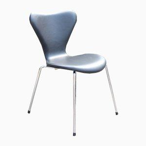 Sedie da pranzo nr. 3107 in pelle di Arne Jacobsen per Fritz Hansen, anni '60, set di 6