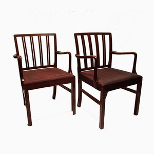 Mahogany & Fabric Armchairs by Fritz Hansen, 1930s, Set of 2