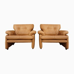 Leather Coronado Armchairs by Afra and Tobia Scarpa for B&B Italia, 1966, Set of 2