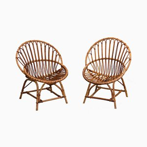 Chaises en Osier, 1960s, Set de 2