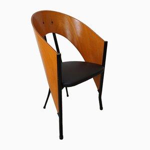 Butaca italiana vintage de madera curvada y metal