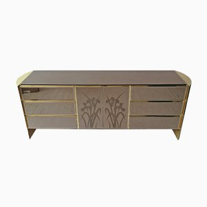 American Gold & Engraved Mirror Glass Credenza from Ello, 1970s
