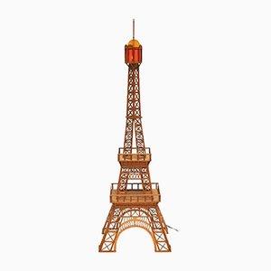 Escultura Eiffel italiana de madera con luz, años 60