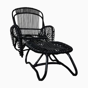 Rattan Lounge Chair, Ottoman, and Side Table Set