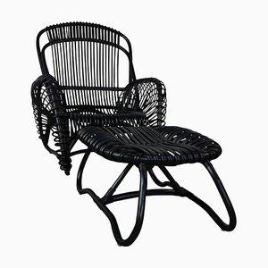 Rattan Sessel, Fußhocker und Beistelltisch Set
